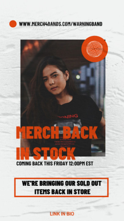 Instagram Story Template for a Rock Music Artist's Merch Restock Announcement 2486-el1