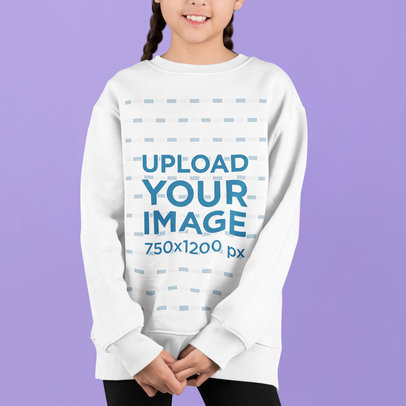Sweatshirt Mockup of a Girl with Braids Standing in a Studio m733