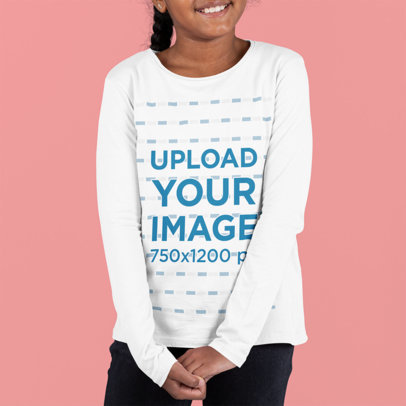 Mockup of a Girl Posing With a Long-Sleeve Tee at a Studio m879