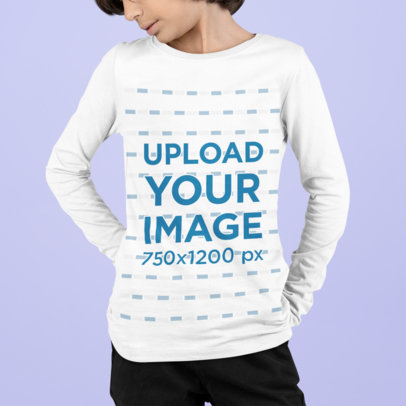 Long Sleeve Tee Mockup Featuring a Boy Standing Against a Solid Color Backdrop m870