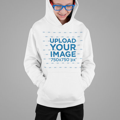 Pullover Hoodie Mockup Featuring a Boy With Glasses m714