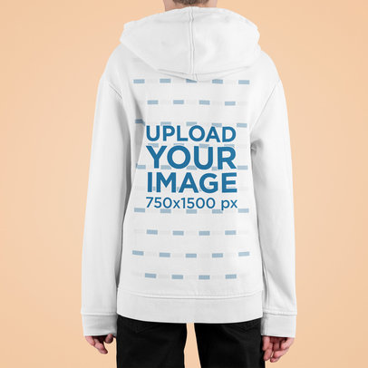 Back-View Hoodie Mockup Featuring a Kid Against a Customizable Surface m715