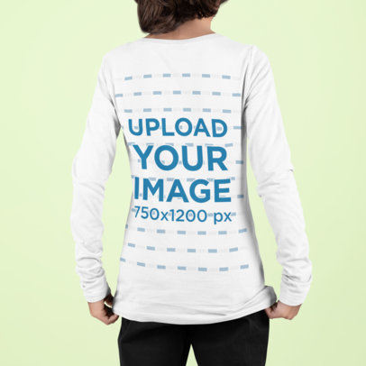 Back View Mockup of a Boy With a Long Sleeve Tee Standing Against a Plain Backdrop m871