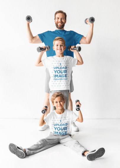 T-Shirt Mockup of a Dad Working Out with His Two Kids 45297-r-el2