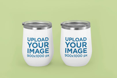 Mockup Featuring Two Wine Tumblers Against a Plain Backdrop m225