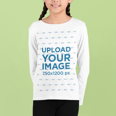 Long Sleeve Tee Mockup of a Girl Smiling in a Studio m727