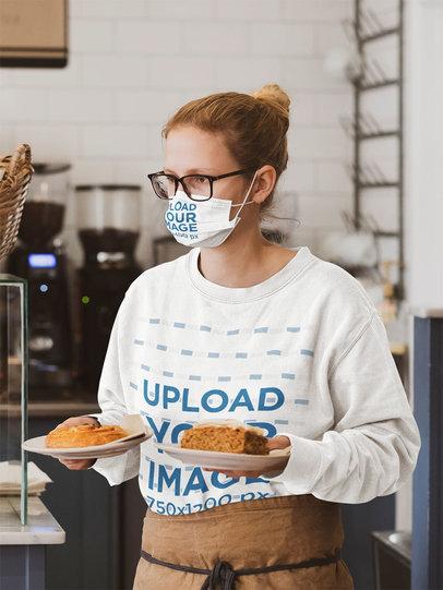 Sweatshirt and Face Mask Mockup of a Baker at Work 45479-r-el2