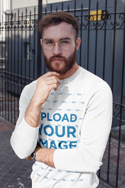 Mockup Featuring a Bearded Man With Glasses Wearing a Sweatshirt 17729a