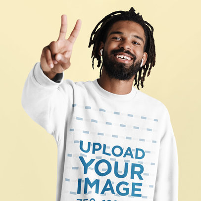 Sweatshirt Mockup of a Bearded Joyful Man Listening to Music at a Studio 45563-r-el2