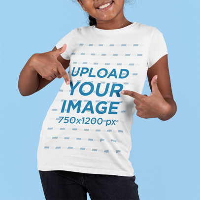 Mockup of a Smiling Girl Pointing at Her Round-Neck T-Shirt m877