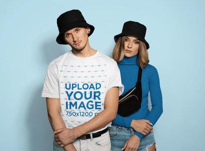 T-Shirt Mockup of a Man and a Woman in Streetwear 45848-r-el2