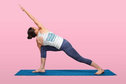 Back-View Racerback Tank Top Mockup of a Woman Doing a Yoga Pose 36403-r-el2