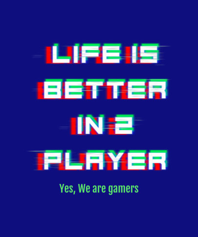 T-Shirt Design Template for a Gamers Squad with Glitch-Style Typography 3272p