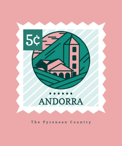 Illustrated T-Shirt Design Template Featuring a Landscape from Andorra 3327d-el1