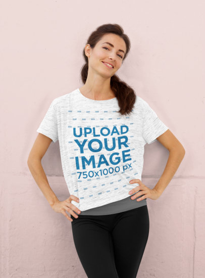 T-Shirt Mockup Featuring a Woman in an Athleisure Outfit 45232-r-el2