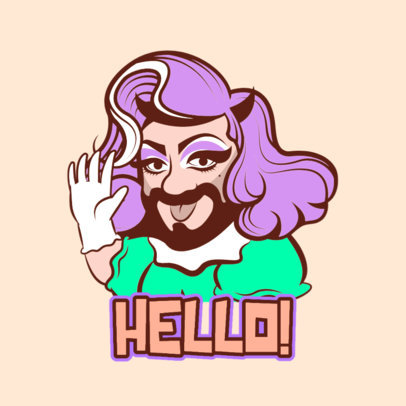 Twitch Emote Logo Maker Featuring a Drag Queen's Expression 3955