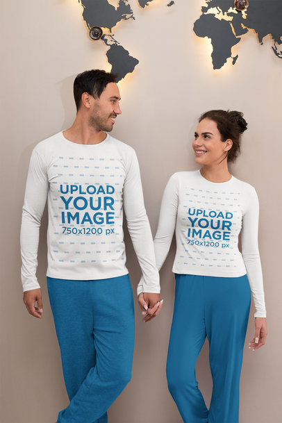 Long-Sleeve Tee Mockup of a Couple in PJs Holding Hands m770