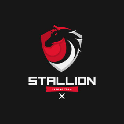 Logo Maker for a Gaming Team Featuring a Minimalist Stallion 3350d-el1