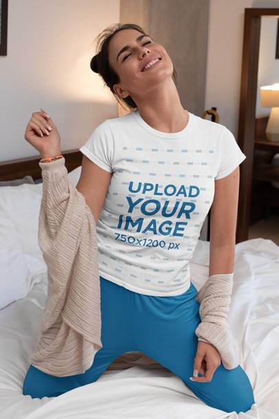T-Shirt Mockup of a Joyful Woman in Her Bedroom m789