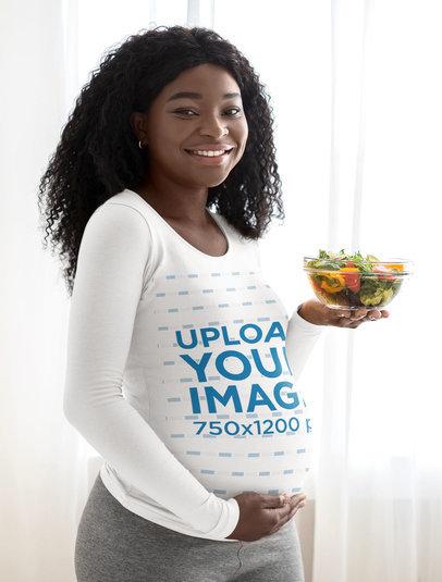 Mockup of a Pregnant Woman Holding a Bowl of Salad 45817-r-el2