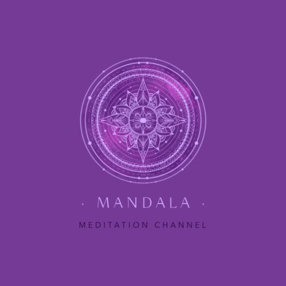 Logo Template for a Meditation Channel Featuring Mandala Art Graphics 3953a