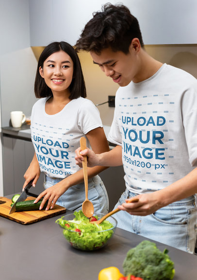 T-Shirt Mockup of a Young Couple Preparing Healthy Food 45866-r-el2