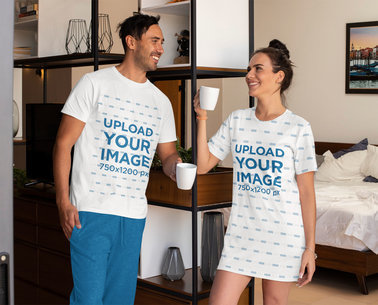 T-Shirt and Nightdress Mockup of a Couple in Their Pajamas m776