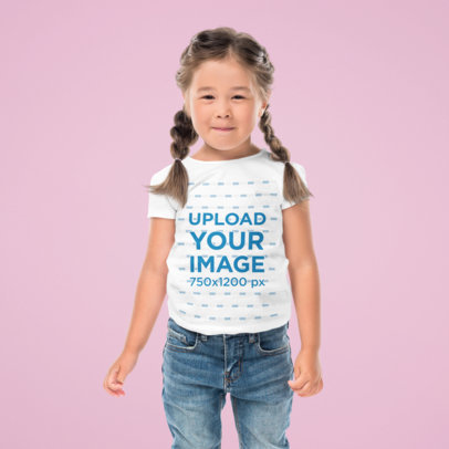 Tee Mockup of a Girl Standing Against a Solid Color Backdrop 45809-r-el2