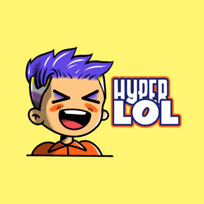 Twitch Emote Logo Template for a Nonbinary Gamer with a Kawaii Illustration 3964f