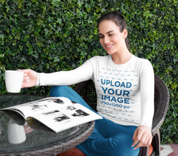 Long-Sleeve Tee Mockup of a Woman in PJs Reading m795