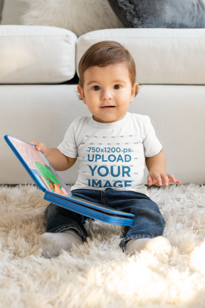 T-Shirt Mockup of a Baby with a Kids' Book m998
