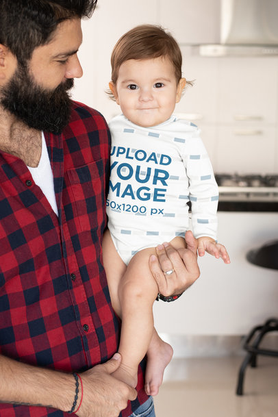 Onesie Mockup of a Proud Dad Holding His Baby Boy m983