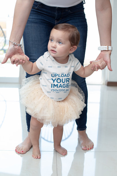 Sublimated Onesie Mockup of a Girl Wearing a Tutu m929