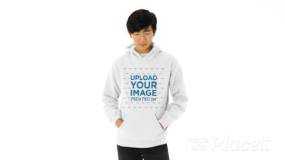 Pullover Hoodie Video Featuring a Smiling Young Man at a Studio 44638v