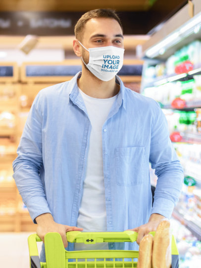 Face Mask Mockup of a Man at the Supermarket 46026-r-el2