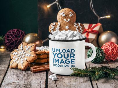 Enamel Mug Mockup Featuring Christmas Cookies and Ornaments 46054-r-el2