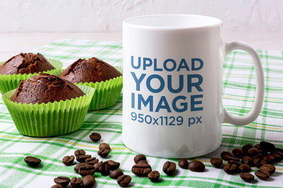 11 oz Coffee Mug Mockup Featuring Chocolate Cupcakes 45826-r-el2