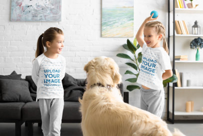 T-Shirt and Long Sleeve Tee Mockup of Two Little Girls Playing with Their Dog 45977-r-el2