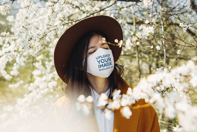 Face Mask Mockup of a Woman Surrounded by Flowers 46123-r-el2