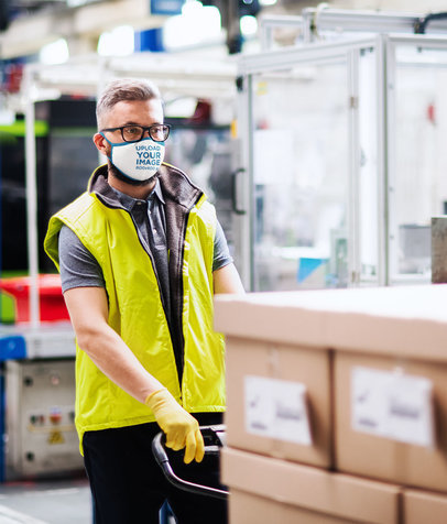 Face Mask Mockup Featuring a Man Working at a Warehouse 45999-r-el2