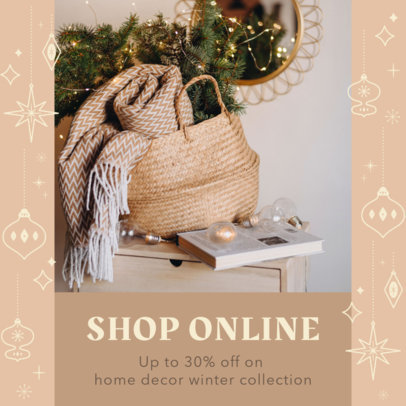 Instagram Post Template Featuring Christmas-Graphic Frames for Online Discounts 3283p
