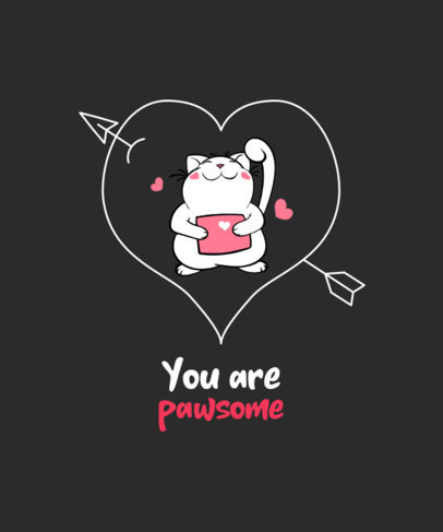 Valentine's Day T-Shirt Design Creator Featuring a Cute Cat with a Letter 3372d-el1