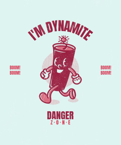 Retro T-Shirt Design Generator Featuring a Dynamite Cartoon Character 3290f