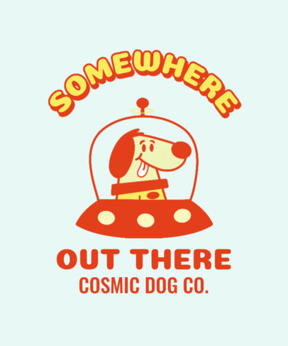 T-Shirt Design Creator with a Retro Space Dog 3287b