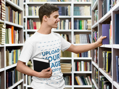 T-Shirt Mockup Featuring a College Student at the Library 46212-r-el2