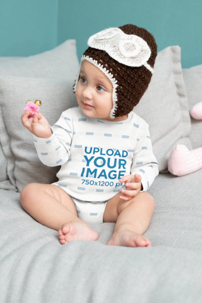 Onesie Mockup Featuring a Baby with a Knitted Garment M931