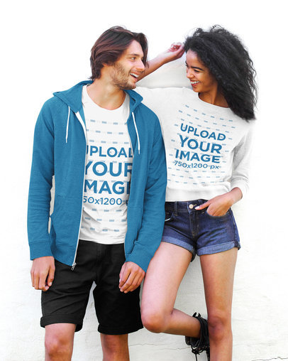 T-Shirt and Sweatshirt Mockup Featuring a Young Couple Laughing 42687-r-el2
