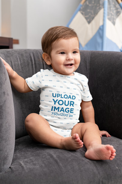 Mockup of a Baby Boy Wearing a Short-Sleeve Onesie m996
