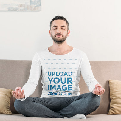 Long-Sleeve Tee Mockup of a Man with a Beard Meditating at Home 46165-r-el2
