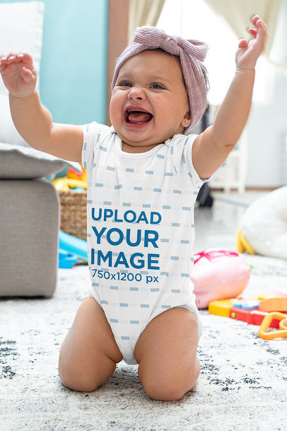 Sublimated Onesie Mockup Featuring a Happy Baby Girl m925
